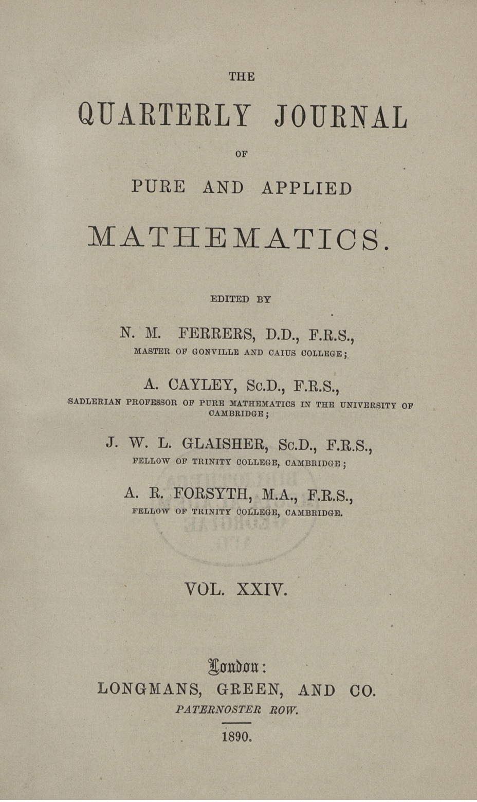 The quarterly journal of pure and applied mathematics | GDZ